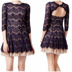 Betsy & Adam Navy Lace Tulle Dress, Size 2 - NWT!